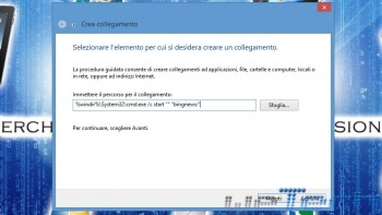 Creazione del collegamento all'app di Windows 8