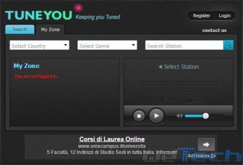TuneYou - Interfaccia MyZone